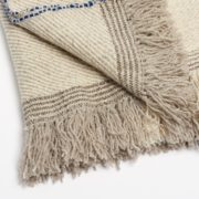 Xenodice Hand-Woven Wool Throw with Marine Blue Detail - Xenodice Throw Maria Sigma Textiles The Garnered 26