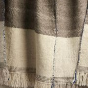 Xenodice Hand-Woven Wool Throw with Marine Blue Detail - Xenodice Throw Maria Sigma Textiles The Garnered 30
