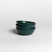 Set of 4 Forest Green Hand-Thrown Ceramic Bowls - Dark Green Bowl 4 Marion Graux Ceramics The Garnered 035