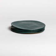 Set of 4 Forest Green Hand-Thrown Ceramic Dinner Plates - Dark Green Large Plate 4 Marion Graux Ceramics The Garnered 049