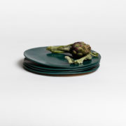 Set of 4 Forest Green Hand-Thrown Ceramic Dinner Plates - Dark Green Large Plate 4 Marion Graux Ceramics The Garnered 050