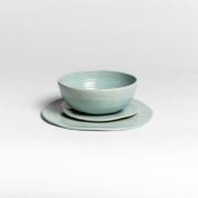 Set of 4 Celadon Hand-Thrown Ceramic Bowls - Turquoise Group Marion Graux Ceramics The Garnered 099 1