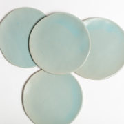 Set of 4 Celadon Hand-Thrown Ceramic Dessert Plates - Turquoise Small Plate Group Marion Graux Ceramics The Garnered 080