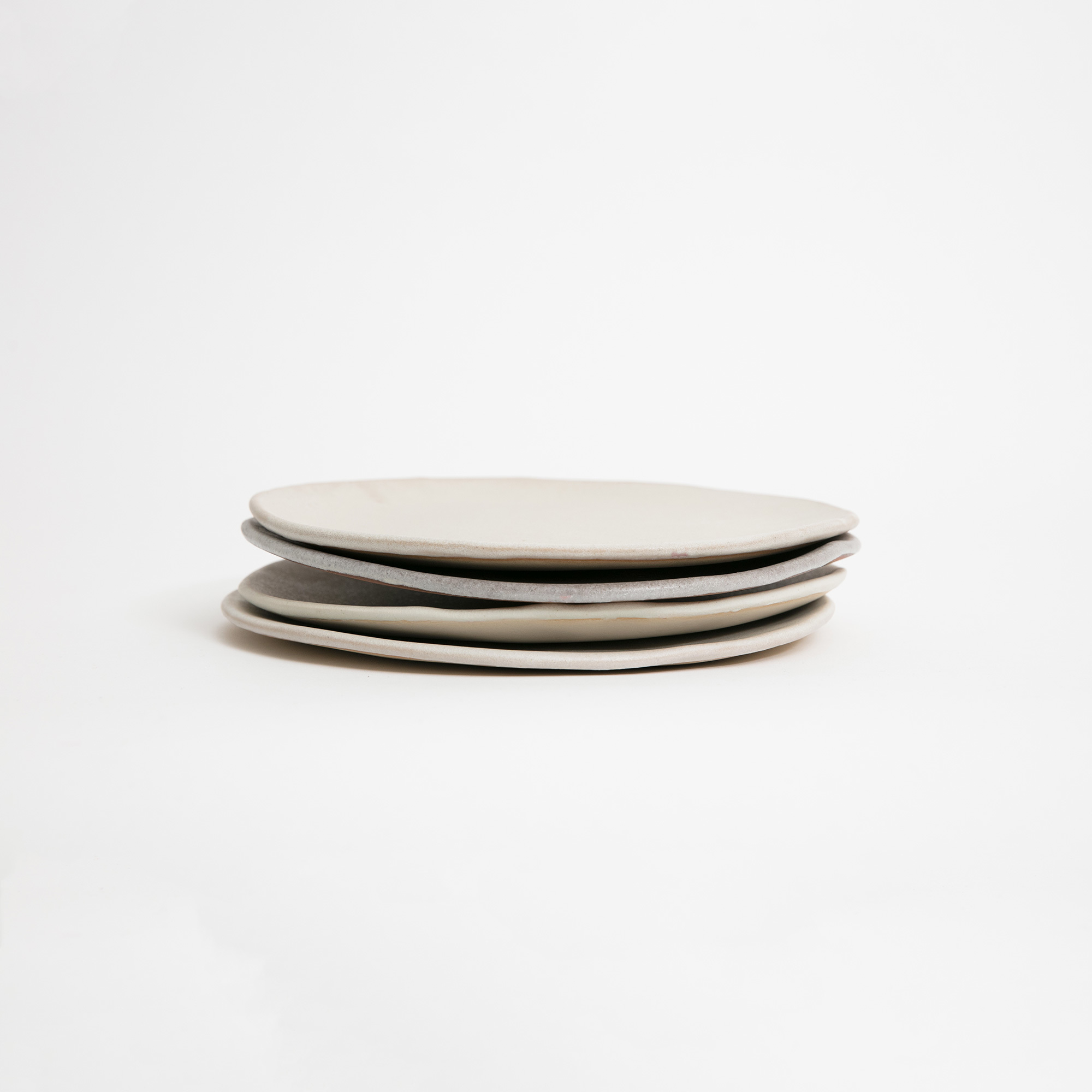 Set of 4 Ecru Hand-Thrown Ceramic Plates & Marion Graux Handmade Off White Ceramic Plates | The Garnered