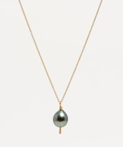 The Garnered - Gold Black Tahitian Pearl Drop Necklace Mary Macgill Jewellery The Garnered 10