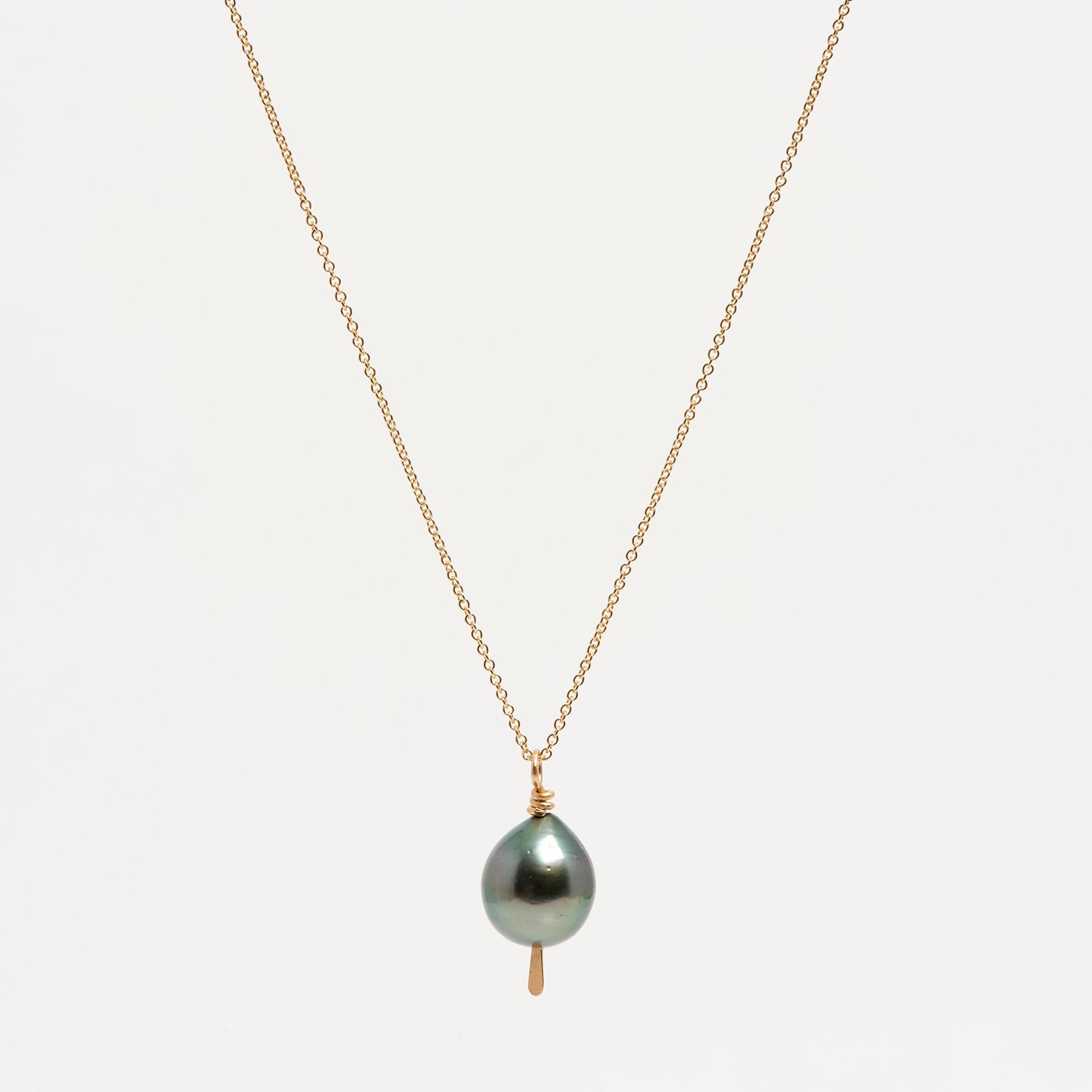 14K Gold Black Tahitian Pearl Drop Necklace