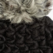 Beanie Pomster Black with Grey Mix Pom Hand-Crocheted Merino Wool Hat - Black Beanie Mischa Lampert Hats The Garnered 16