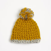Beanie Pomster Dijon with Grey Trim Hand-Crocheted Merino Wool Hat - Dijon Grey Beanie Mischa Lampert Hats The Garnered 19