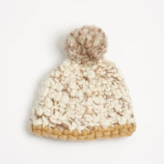 Beanie Pomster Marble with Gold Trim Hand-Crocheted Merino Wool Hat - Marble Gold Beanie Mischa Lampert Hats The Garnered 11
