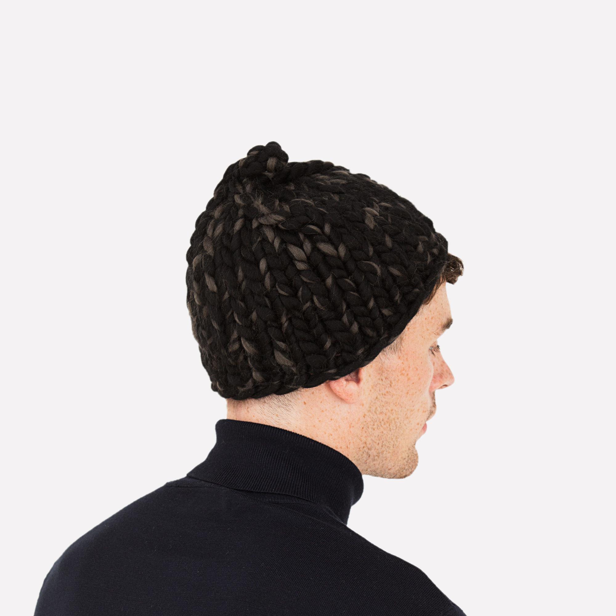 1114b0ba460 Men s Beanie Black and Carbon Hand-Crocheted Merino Wool Hat