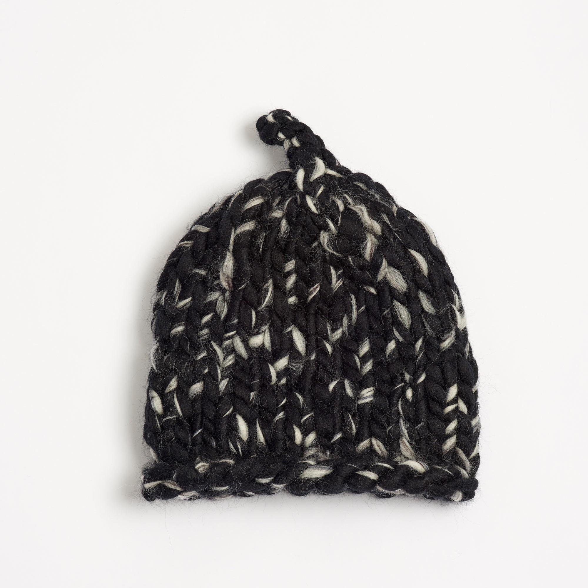 Men S Beanie Black And White Hand Crocheted Merino Wool The Garnered
