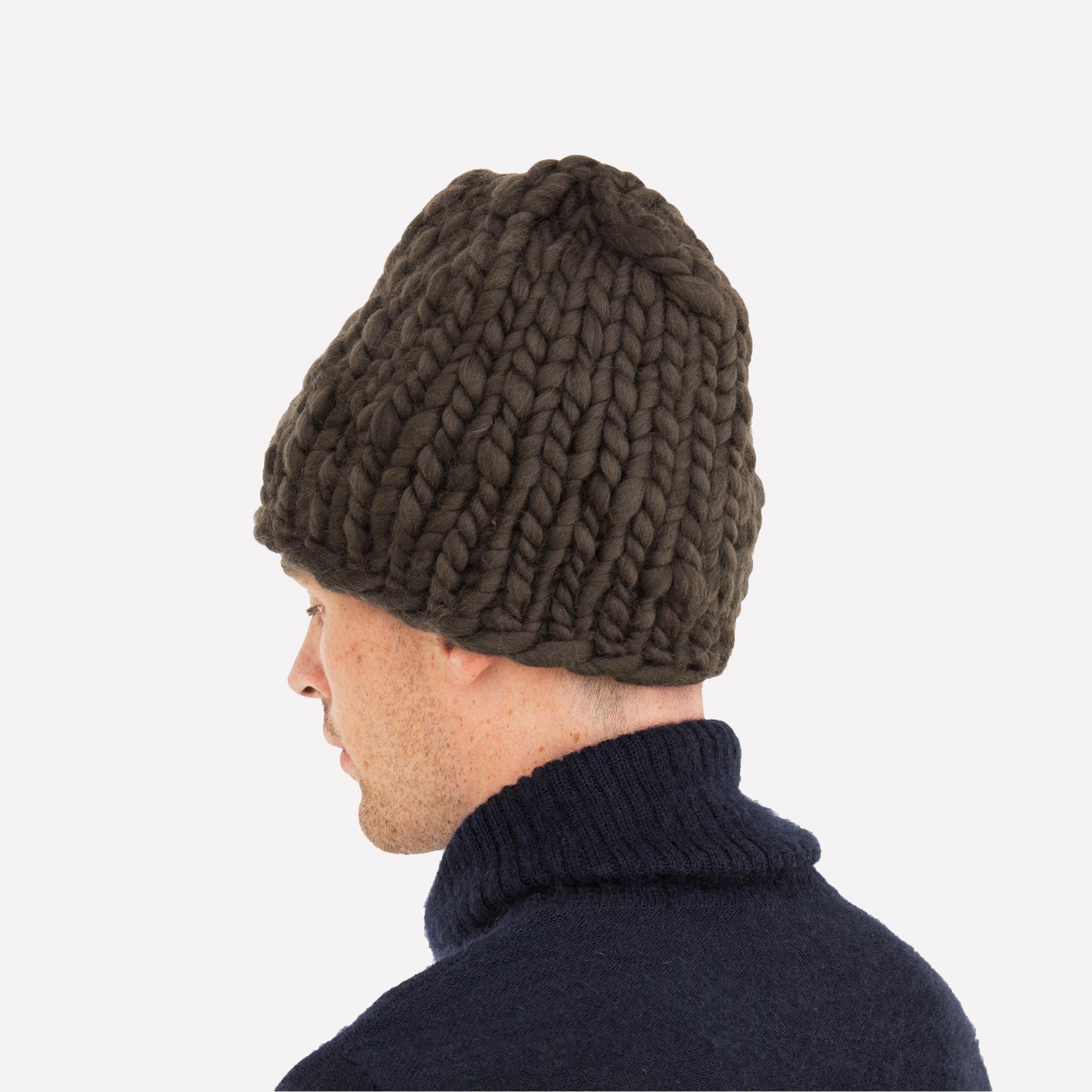 b9ddd46717c Men s Beanie Carbon Hand-Crocheted Merino Wool Hat