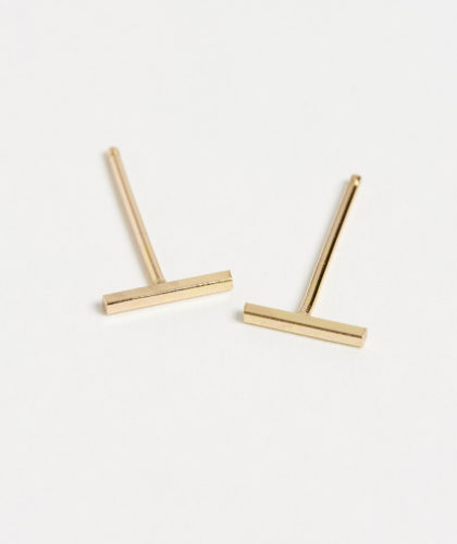 The Garnered - Small Gold Bar Earrings Rebecca Peacock Jewellery The Garnered 2