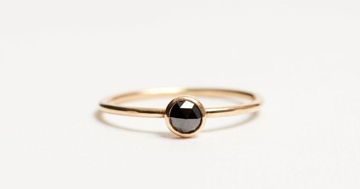 Ring Black Diamond 14k Gold 5 rCtsQhd