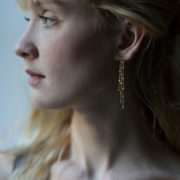 Handmade 18K Yellow Gold Falling Dust Earrings - Sia Taylor Yellow Gold Falling Dust Earring The Garnered Model