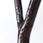 Handcrafted Steel and Leather Wishbone Stool - Wishbone Stool Table Spencer Fung Furniture The Garnered Detail