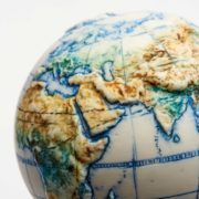Land and Sea Ceramic Hand-Painted Globe - Small World Globe The Little Globe Co The Garnered 14