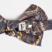 Vintage Print Brown Paisley Silk Bow-Tie - Brown Paisley Bowtie Maison F Ties The Garnered 8