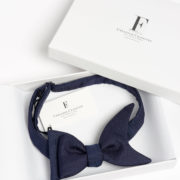 Matte Silk Shark's Fin Pre-Tied Bow-Tie - Navy Bowtie Maison F Ties The Garnered 9