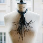 Black Silk Feather Tie - Black Feather Tie Maison F Ties The Garnered
