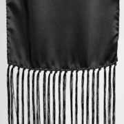 Black Silk Scarf with Long Fringe - Black Silk Scarf Maison F Scarves The Garnered50