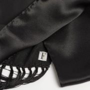 Black Silk Scarf with Long Fringe - Black Silk Scarf Maison F Scarves The Garnered53