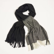 Deepak Tie-Dye Scarf - Deepak Dipdye Wool Twill Scarf Black White Melt The Garnered