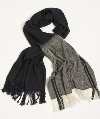 The Garnered - Deepak Dipdye Wool Twill Scarf Black White Melt The Garnered
