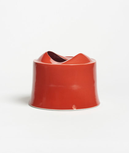 The Garnered - Red Small Wide Vessel Tanya Gomez Ceramics The Garnered 1