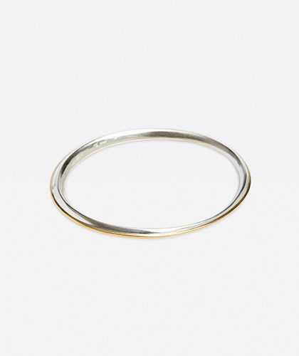 The Garnered - Abby Mosseri Silver and Gold Ridge Bangle The Garnered Thumbnail