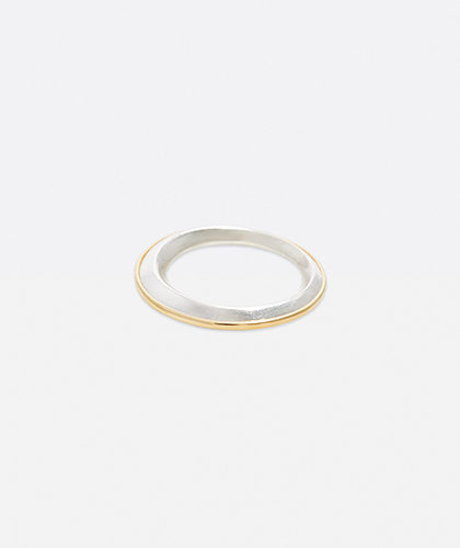 The Garnered - Abby Mosseri Silver and Gold Ridge Ring The Garnered Thumbnail