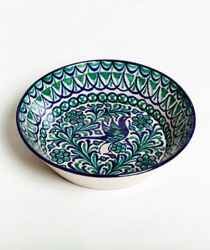 The Garnered - Green Blue 32Cm Salad Bowl Casa Lopez Ceramics The Garnered Thumbnail