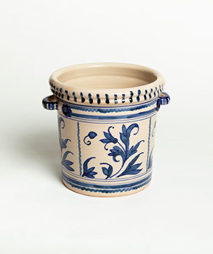 The Garnered - Leaf Blue Ice Bucket Casa Lopez Ceramics The Garnered Thumbnail