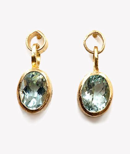 The Garnered - Disa Allsopp Fine Hand Crafted Jewelry 18 K Gold Aquamarine Loop Drop Earrings The Garnered Thumbnail