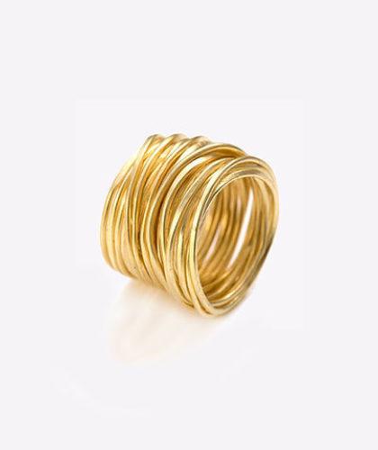 The Garnered - Disa Allsopp Fine Hand Crafted Jewelry 18 K Gold Grande Spaghetti Ring The Garnered Thumbnail 2