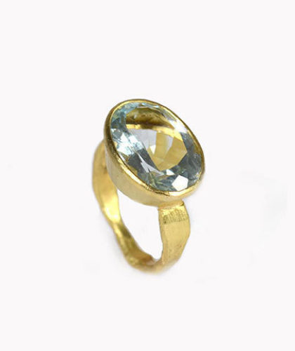 The Garnered - Disa Allsopp Fine Handcrafted Jewelry 18 K Gold Aquamarine Ring The Garnered Thumbnail