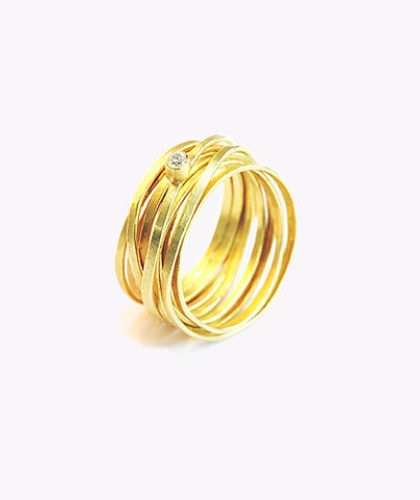 The Garnered - Disa Allsopp Fine Handcrafted Jewelry 18 K Gold Flat Spaghetti Ring With Diamond The Garnered Thumbnail 2