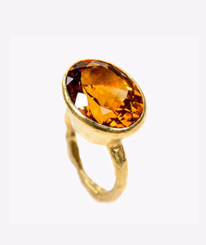 The Garnered - Disa Allsopp Fine Handcrafted Jewelry 18 K Gold Madeira Citrine Ring The Garnered Thumbnail