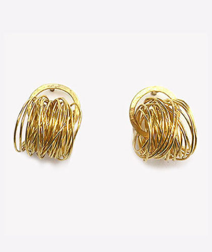 The Garnered - Disa Allsopp Fine Handcrafted Jewelry 18 K Gold Spaghetti Earrings The Garnered Thumbnail
