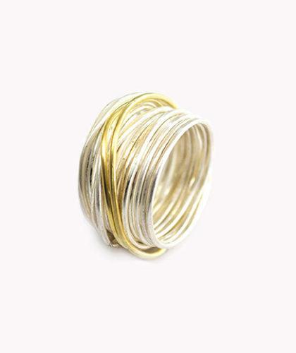 The Garnered - Disa Allsopp Fine Handcrafted Jewelry 18 K Gold Strand Silver Spaghetti Ring The Garnered Thumbnail