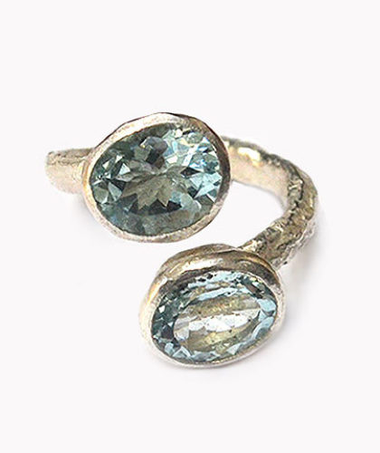 The Garnered - Disa Allsopp Fine Handcrafted Jewelry Double Aquamarine Silver Ring The Garnered Thumbnail