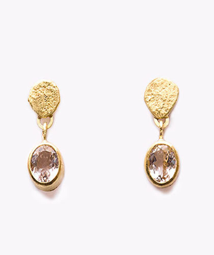 The Garnered - Disa Allsopp Fine Handcrafted Jewelry Pair 18 K Gold Disc Drop Morganite Earrings The Garnered Thumbnail