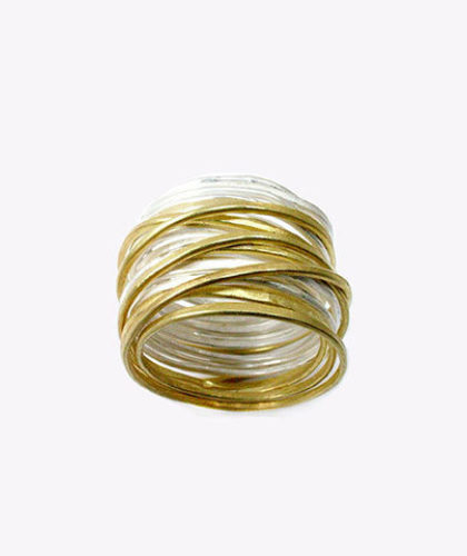 The Garnered - Disa Allsopp Fine Handcrafted Jewelry Seven 18 K Gold Strand Silver Spaghetti Ring The Garnered Thumbnail