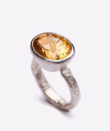 The Garnered - Disa Allsopp Fine Handcrafted Jewelry Silver Citrine Ring The Garnered Side Thumbnail 2