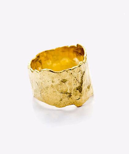 The Garnered - Disa Allsopp Wide Gold Textured Ring The Garnered Thumbnail