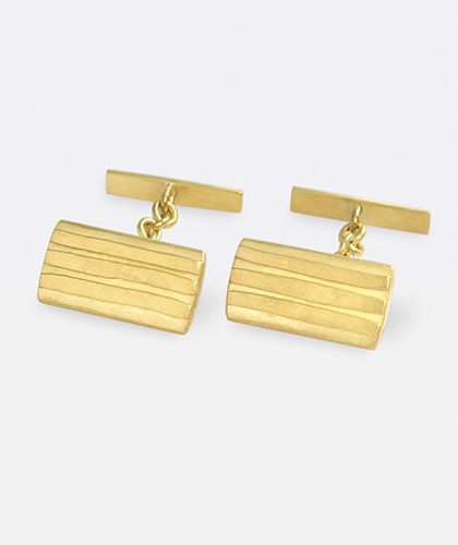 The Garnered - Jean Scott Moncrieff Gold Striped Cufflinks The Garnered Thumbnail