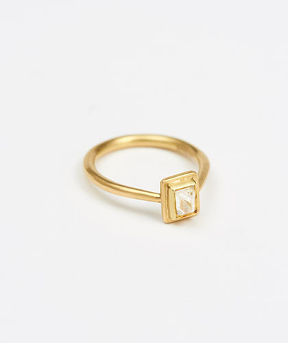 The Garnered - Jean Scott Moncrieff Gold Ring Octahedral Diamond Side The Garnered Thumbnail