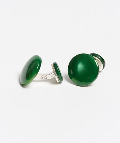The Garnered - Samuel Gassmann Green Asymmetric Cufflinks The Garnered Thumbnail