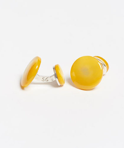 The Garnered - Samuel Gassmann Yellow Asymmetric Cufflinks The Garnered Thumbnail