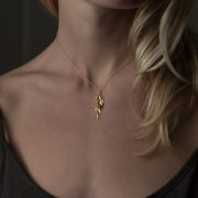 Handmade 18K Yellow Gold Leaf Cluster Pendant - Sia Taylor Yellow Gold Golden Leaf Cluster The Garnered Model Thumbnail
